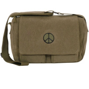 Fox Outdoor 43-704 Retro Departure Shoulder Bag With Peace Emblem - Olive Drab