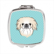 Carolines Treasures BB1159SCM Checkerboard Blue Pekingese Compact Mirror 2.75 x 3 x .7.6cm .
