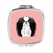 Carolines Treasures BB1230SCM Checkerboard Pink Japanese Chin Compact Mirror 2.75 x 3 x .7.6cm .