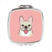 Carolines Treasures BB1238SCM Checkerboard Pink French Bulldog Compact Mirror 2.75 x 3 x .7.6cm .