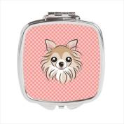 Carolines Treasures BB1251SCM Checkerboard Pink Chihuahua Compact Mirror 2.75 x 3 x .7.6cm .