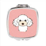 Carolines Treasures BB1257SCM Checkerboard Pink White Poodle Compact Mirror 2.75 x 3 x .7.6cm .