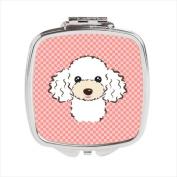 Carolines Treasures BB1257SCM Checkerboard Pink White Poodle Compact Mirror 2.75 x 3 x .7.6cm .