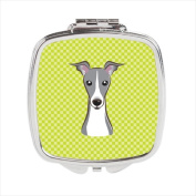 Carolines Treasures BB1298SCM Checkerboard Lime Green Italian Greyhound Compact Mirror 2.75 x 3 x .7.6cm .