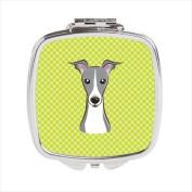 Carolines Treasures BB1298SCM Checkerboard Lime Green Italian Greyhound Compact Mirror 2.75 x 3 x .7.6cm .