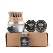 Basic Beard Care Kit - Wisdom Beard Oil Flask   Manly, Woodsy Scent   Moustache Wax SET   Horse-Hair Beard Oil Brush
