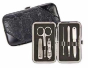Brownlow Gift 102803 Manicure Set Faux Croc With Cross - Black 6 Tool Set