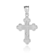 925 Sterling Silver Eastern Orthodox Cross Charm Pendant