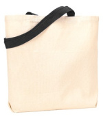UltraClub 9868 Organic Recycled Cotton Canvas Tote with Contrast Handles - Black