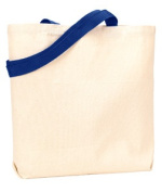 UltraClub 9868 Organic Recycled Cotton Canvas Tote with Contrast Handles - Navy
