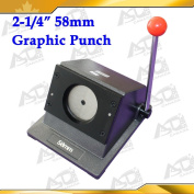 "Round 2-1/4"" 58mm Multi Sheets Stack Paper Graphic Punch Die Cutter Button Maker"