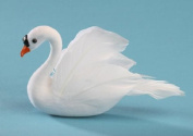 Package of 12 Artificial White Flocked Artificial Swans with Feathered Accents for Wedding, Party and Special Event Decorating