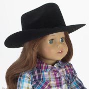 Black Cowgirl Doll Hat for the 46cm Horse Riding American Girl! 46cm Doll Black Velvet Cowgirl Hat w/ Decorative Rope on Brim