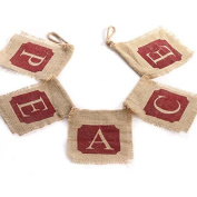"Rustic Natural Jute Burlap ""Peace"" Christmas Holiday Banner Garland"