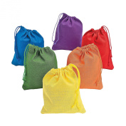 Adorox Assorted Colour Canvas Drawstring Bags Sacks Arts Crafts Party Favour (Pack of 12) (Assorted