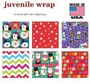 Premium Christmas Gift Wrap Juvenile Classic Wrapping Paper Bulk for Men, Women, Boys, Girls, Kids 6 Different 4.9m X 80cm Rolls Included Xmas Santa, Snowman, Snowflake, Penguin, Ho Ho Ho