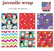 Premium Christmas Gift Wrap Juvenile Classic Wrapping Paper Bulk for Men, Women, Boys, Girls, Kids 6 Different 4.9m X 80cm Rolls Included Xmas Santa, Snowman, Snowflake, Penguin, Ho Ho Ho