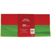 Red & Green Holiday Tissue Paper (Solid Colours), Pack of 20 sheets