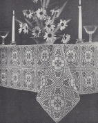 Vintage Crochet PATTERN to make - Fillet Flower Design Motif Block Tablecloth Fancy Lace. NOT a finished item. This is a pattern and/or instructions to make the item only.