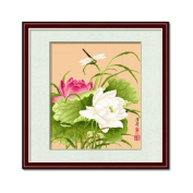 DOMEI Stamped Cross Stitch Kit, Dragonfly on Lotus, 44cm x 49cm