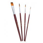Phoenix® #1#4#6 Round,#12 Flat-Tipped Double Coloured Nylon Artist Watercolour,Acrylic,Oil Paint Brushes Set - Short Handle