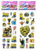 3 Sheets Puffy Dimensional Scrapbooking Party Stickers - FREE USA SHIPPING - DESPICABLE ME MINIONS