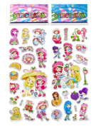 3 Sheets Puffy Dimensional Scrapbooking Party Stickers-FREE USA SHIPPING - STRAWBERRY SHORTCAKE