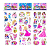 3 Sheets Puffy Dimensional Scrapbooking Party Stickers-FREE USA SHIPPING - BARBIE