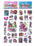 3 Sheets Puffy Dimensional Scrapbooking Party Stickers-FREE USA SHIPPING - MONSTER HIGH