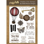 Debbi Moore Designs DMNS004 14-Piece Shabby Chic Clear A5 Stamp Set, Time Flies