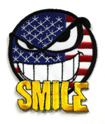 FLAG007 - Smile Patch - American Flag Patches - Usa flag Patch - Applique Embroidered patches - Iron on Patches - Backpack Patches - Size 7.25 x 8.25 Cm.