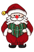 ID #8158B Santa Decoration & Heart Christmas Embroidered Iron On Applique Patch