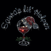 A01 Santa's Little Helper Wine Humour Iron on Transfer Rhinestones Dimensions: