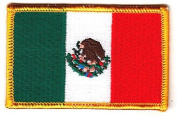 MEXICO FLAG,, Mexican National Flag w/Gold Border/Iron On Patch Applique