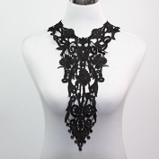 Yontree Neckline Collar Venise Lace Applique Black