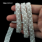 9yards Craft Braided Beaded Fake Pearls Rhinestones Trim Embroidered Lace Ribbon Trim Costume Applique Sewing on Trim 9mm T478