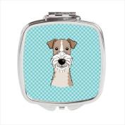 Carolines Treasures BB1185SCM Checkerboard Blue Wire Haired Fox Terrier Compact Mirror 2.75 x 3 x .7.6cm .
