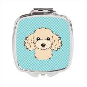 Carolines Treasures BB1196SCM Checkerboard Blue Buff Poodle Compact Mirror 2.75 x 3 x .7.6cm .