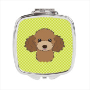 Carolines Treasures BB1318SCM Checkerboard Lime Green Chocolate Brown Poodle Compact Mirror 2.75 x 3 x .7.6cm .