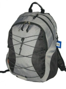 DDI 703123 Backpack with 3 compartment & amp; 1 CD pouch 18.5x 12x9 Grey-black. Case Of 24