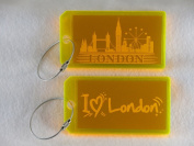 Destinations Neon Acrylic I.D. Tag - London Yellow