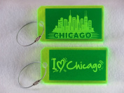 Destinations Neon Acrylic I.D. Tag - Chicago Green