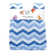 Lullaboo Baby Blanket Cloral Fleece Chevron Blue