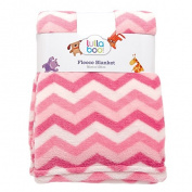 Lullaboo Baby Blanket Cloral Fleece Chevron Pink