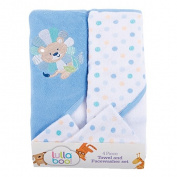 Lullaboo Towel and Facewasher Set Blue 4 Piece