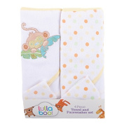 Lullaboo Towel and Facewasher Set Green/Yellow 4 Piece