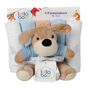 Lullaboo Toy and Facewasher Set 5 Piece Assorted Colours