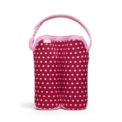 Built Bottle Buddy Two Bottle Tote, In Baby Pink Mini Dots