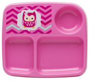 Zak! Designs Toddlerific 3-Section Toddler Plate with Pink Owl, No-tip Wide Base, Break-resistant and BPA-free Plastic