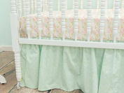 Tushies and Tantrums Bumperless Aztec Crib Bedding, Mint/Peach/Gold